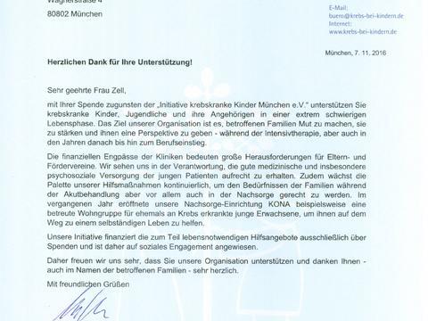 Urkunde Initiative krebskranke Kinder München e.V.