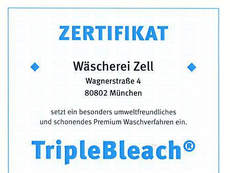 Wäscherei Zell – Zertifikat TripleBleach