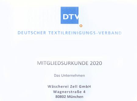 Deutscher Textilreinigungs-Verband – Mitgliedsurkunde 2020