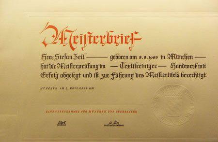 Meisterbrief Stefan Zell
