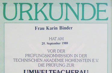 Urkunde Karin Zell